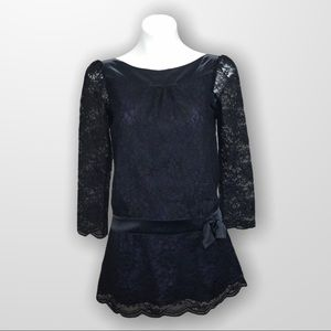 REISS Lace Dropwaisted Dress With Side Bow…